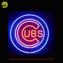2016 Hot Neon Sign Chicago Cubs Baseball Light Glass Tube One Neon Signs Handcrafted LOGO Recreation Room Iconic Sign 24x24(China (Mainland))