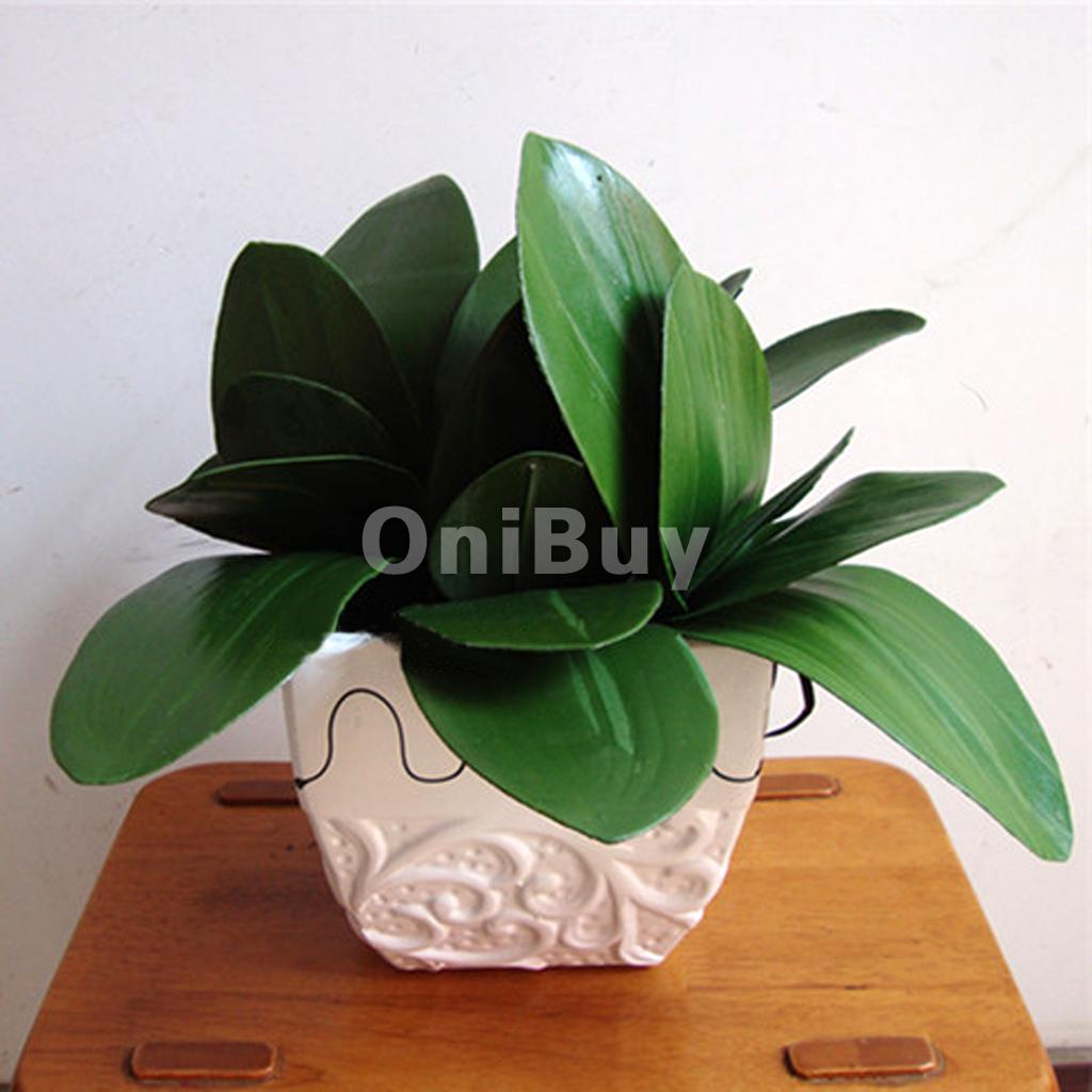 Household bonsai 1 Branch Green Faux Butterfly Orchid Leaf Artificial Plant d