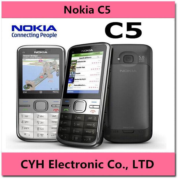 C5 Original Phone Unlocked Nokia C5-00 cell phones GSM 3G 3.15Mp Camera FM GPS have English keyboard and Russian keyboard(China (Mainland))