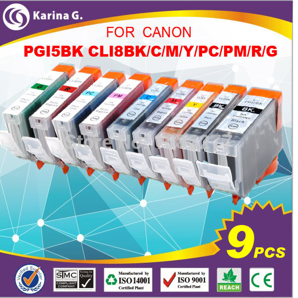 9PK good quality compatible ink cartridge PGI- 5BK CLI-8 for PIXMA Pro9000 free shipping whole set(China (Mainland))