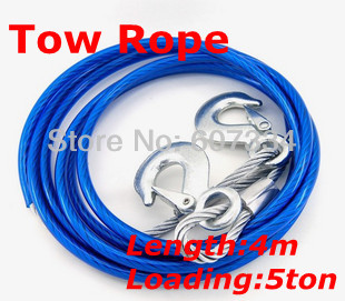 Car accessories Steel Cable Tow Ropes 4 meters 5 tons(China (Mainland))