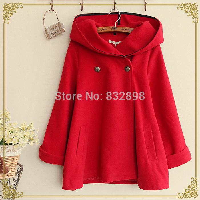 Fashion Big Red Thick Woolen Winter Coat Lovely High Quality Warm Winter Coat Girls Winter Coats(China (Mainland))