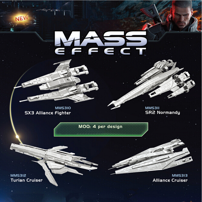 3D Metal Puzzles DIY Model Gift Mass Effect Jigsaws Toys Present Gift juguetes educativos puzzles for adults/children(China (Mainland))