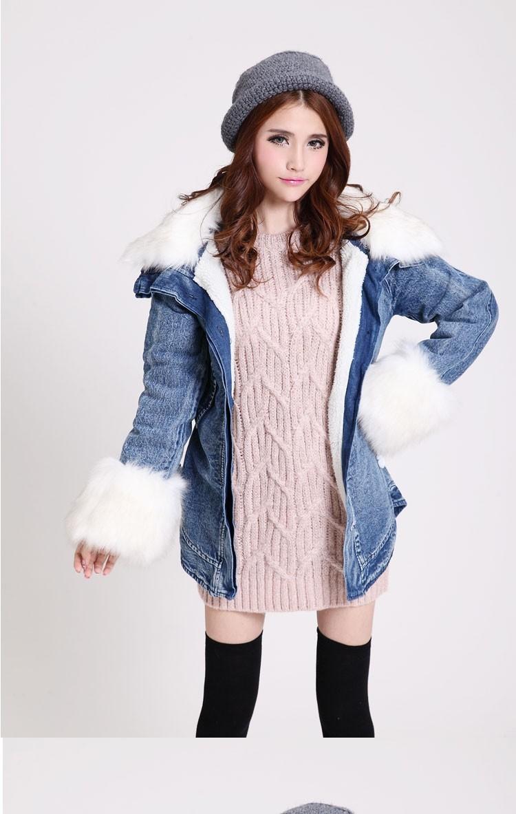 Скидки на 2016 новых осенью и зимой женщины Тонкий толстые джинсовой хлопок шерсть меховой воротник и длинные участки ватник рукав