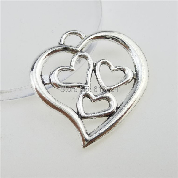 (20 pieces/lot) 12810 Silver Tone Alloy Sweet Love Heart Pendant Charm - jewelry style store