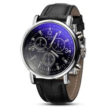 Fashion Faux Leather Mens Analog Quarts Watch Blue Ray Men Wrist Watches 2015 Mens Watches Top Brand Luxury Casual Watch Man