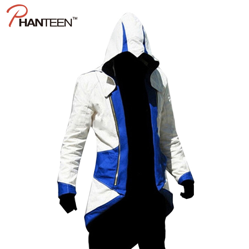 Assassins Creed 3 III Conner Kenway Edward Men Hoodie Jacket Costume Video Game Cosplay Novelty Patchwork Overcoat Plus Size 5XL