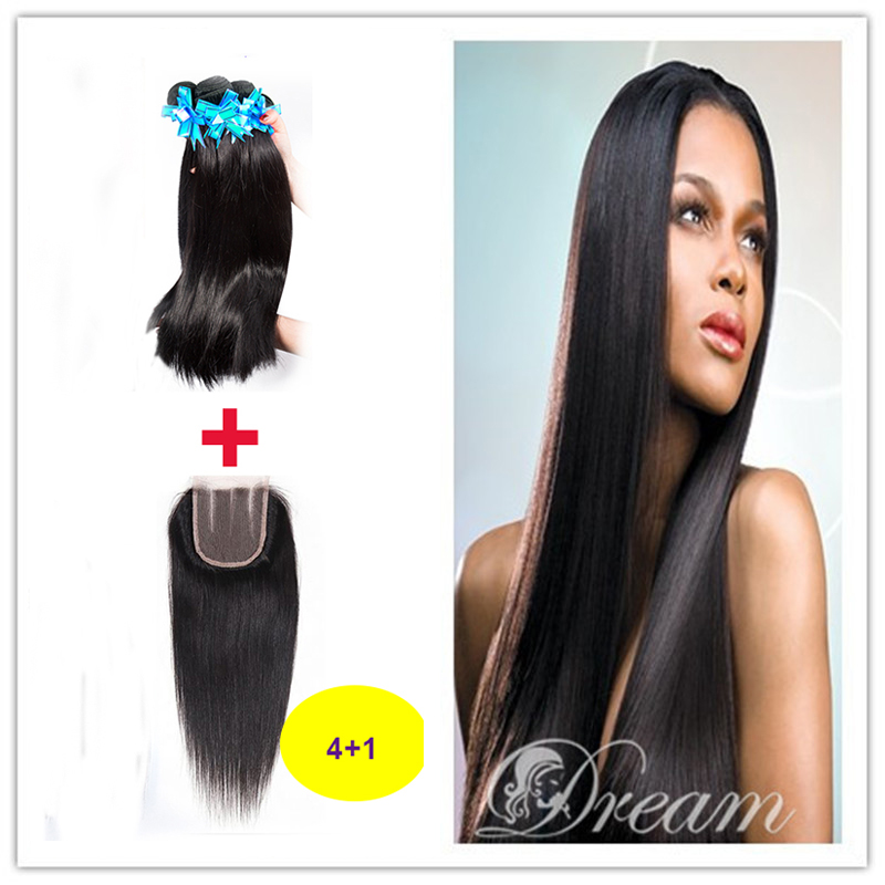 Rosa Hair Products Malaysian Straight 4 Bundles With Closure Malayasian Straight Virgin Human Hair Cheap Hair Free Shipping<br><br>Aliexpress