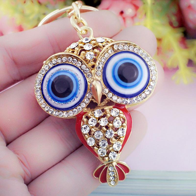2016 New Big Porcelain Eyes Owl Rhinestone Crystal Keyring Keychain HandBag Pendant Purse Bag Buckle K190