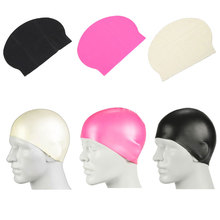 3 Colors Men Women Adults Swimming Caps Waterproof Sports Siwm Pool Swimming Protect Ears Latex Cap Hat Free size(China (Mainland))