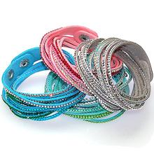 Double wrap leather bracelet,wrap Bracelets,double wrapped bracelets with bilingbling crystal