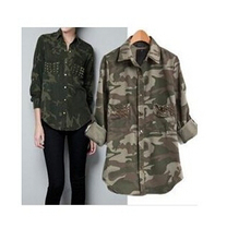 new Women's Fashion Camouflage Rivet Long-sleeve Shirt/ Ladies' Studded Pocket Military Style Blouse Tops(China (Mainland))