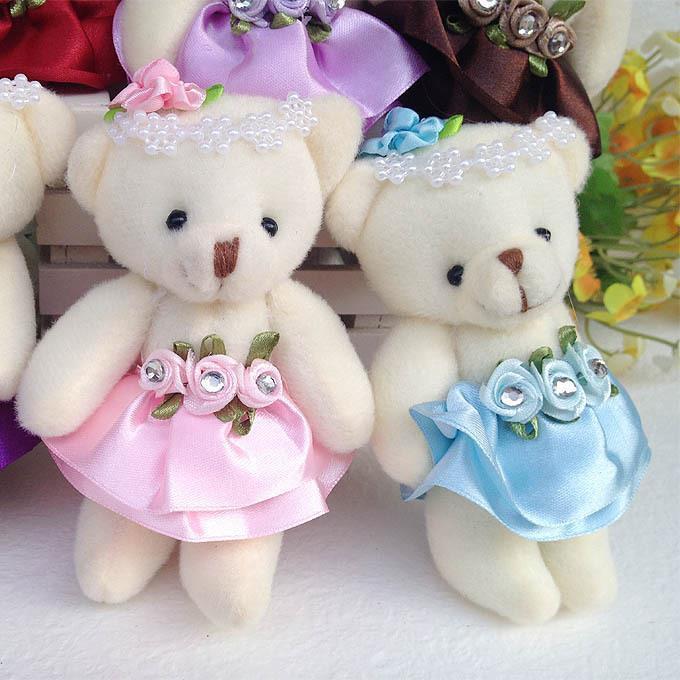 2015 Wholesale 10PCS/lot 12CM lovely girls plush toy doll stuff&plush mini bouquets bear toy for promotional gift(China (Mainland))