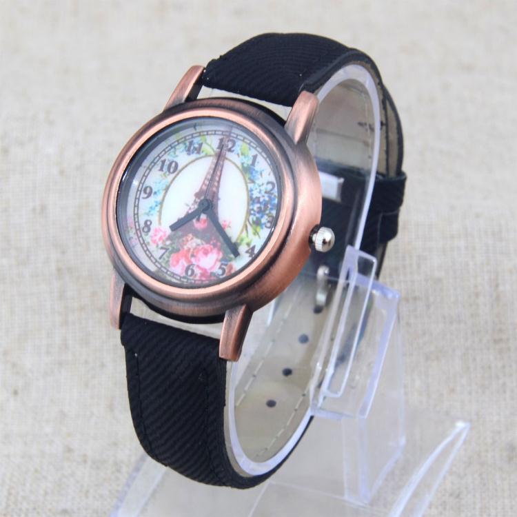 Fashion Eiffel Tower Flowers Denim PU Leather Bronze Dial Women Lady Quartz Wrist Watches - China happyshopping Co., Ltd. store