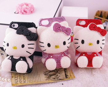 Free Shipping!10PCS/lot new fashion lovely 3D Hello Kitty Rhinestone Crystal pearl Bling Cell Phone Case For iPhone 5g 5 4g 4s