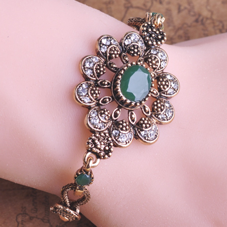 Classic Retro Turkish New Acrylic Jade Vintage Jewelry Bracelet Chain Bronze Antique Gold Accessories Woman sapphire Jewelry(China (Mainland))