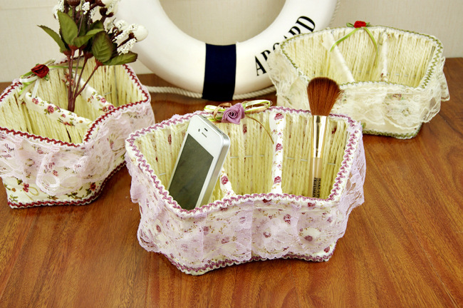 Fan the cane basket hand-woven cloth grid remote controller placed basket makeup tools small basket(China (Mainland))