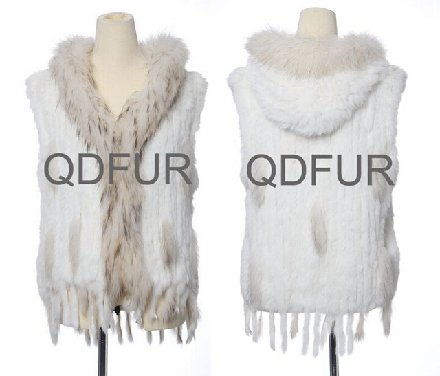 2014 Ladies' Natural Knitted Rabbit Fur Vest Waistcoat Raccoon Fur Hoody and Tassels Winter Women Fur Outerwear Coats QD663