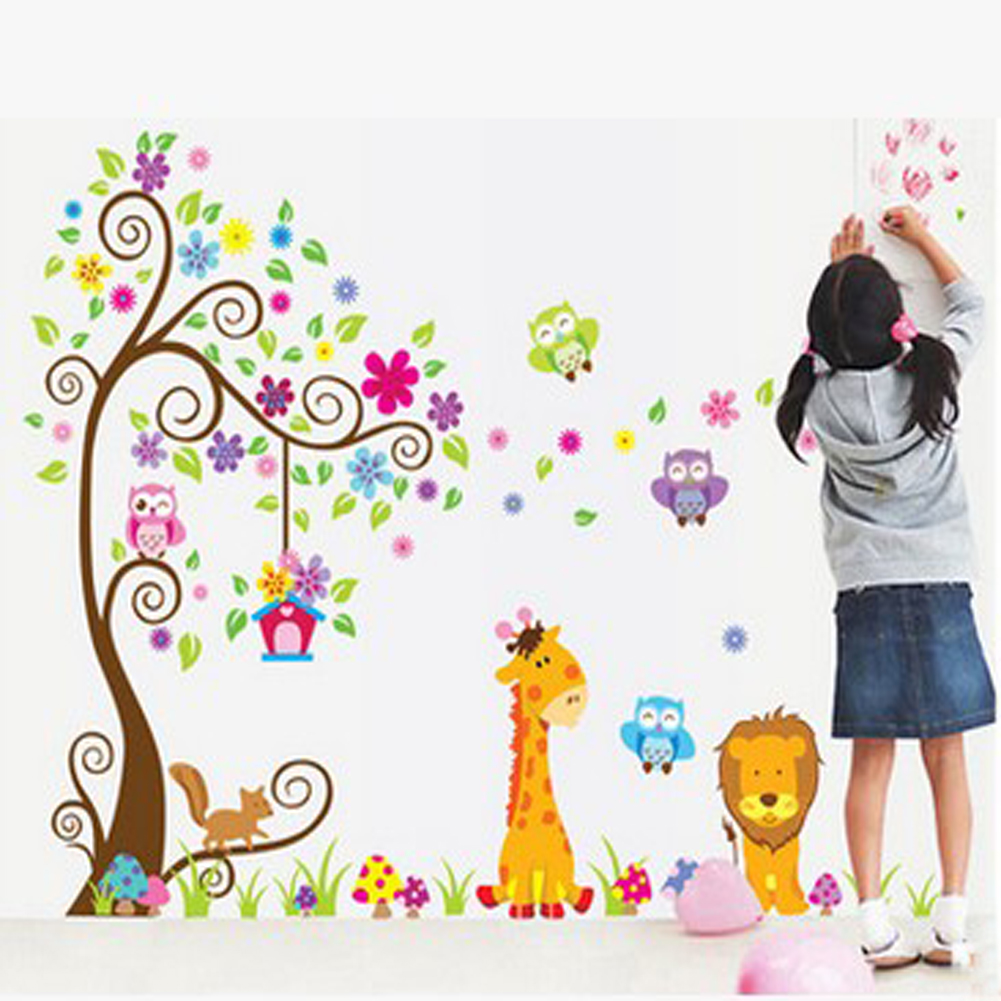 children's bedroom Decor Lion animal Tree Vinyl Wall Stickers kids Baby children Decor Home Wall Paper Decal deco Art Sticker BS(China (Mainland))