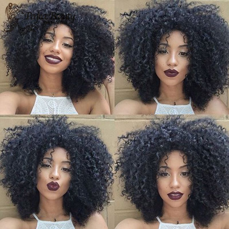 Natural Kinky Curly Wig Heat Resistant Synthetic Kinky Curly Lace Front Wig Natural Black Good Curl<br><br>Aliexpress
