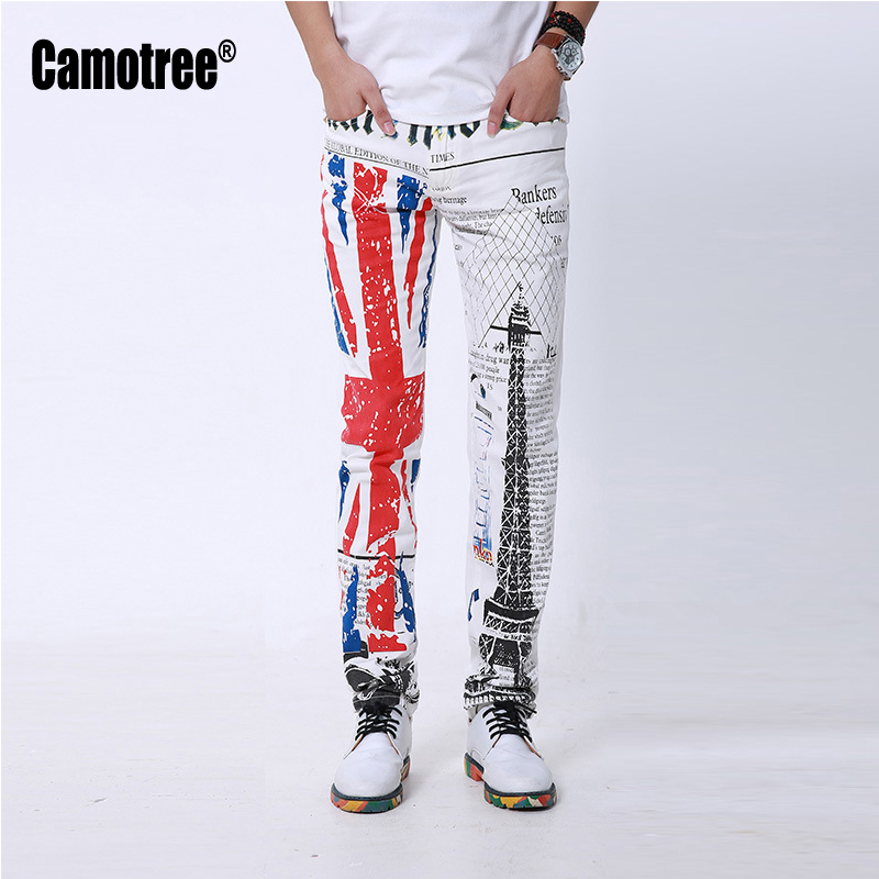 White Skinny Jeans Men Fashion 3D Print Winter Warm UK Flag Painted Stretch Denim Jeans Men Slim Fit Jeans Pants Trousers(China (Mainland))