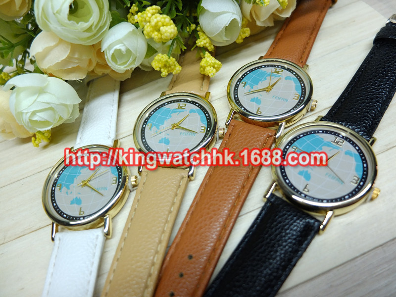 Fashion Couple World Map globe  PU Leather Quartz Wristwatches (For Men)For love Lovers Watch<br><br>Aliexpress