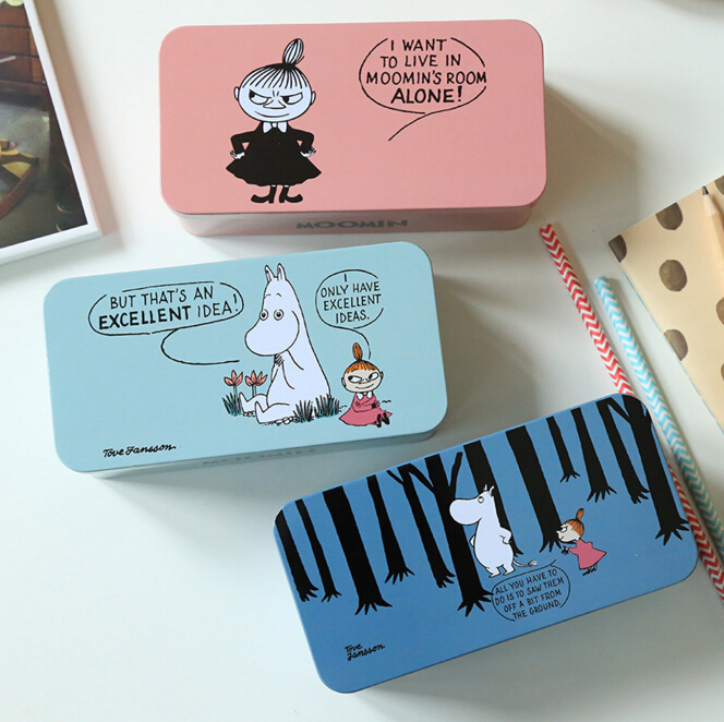 Cute Moomin Double Layer Tin Pencil Case Stationery Storage Organizer Bag School Supply Student Prize Birthday Gift(China (Mainland))