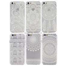 Dream Catcher Flower Pattern Henna Tattoo Mandala Paisley Clear Plastic Case for iPhone 6 4.7(China (Mainland))