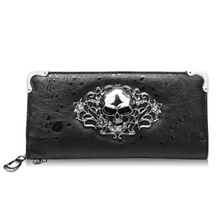 New Fashion PU Leather Women Wallets Retro Punk Skull And Crossbones Clutch Raindrops Pattern Gift Change