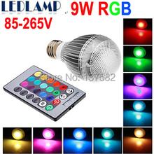 LED RGB Bulb Free shipping E27 RGB LED BULB 9W AC 85-265V led Bulb Lamp with Remote Control multiple colour led lighting(China (Mainland))