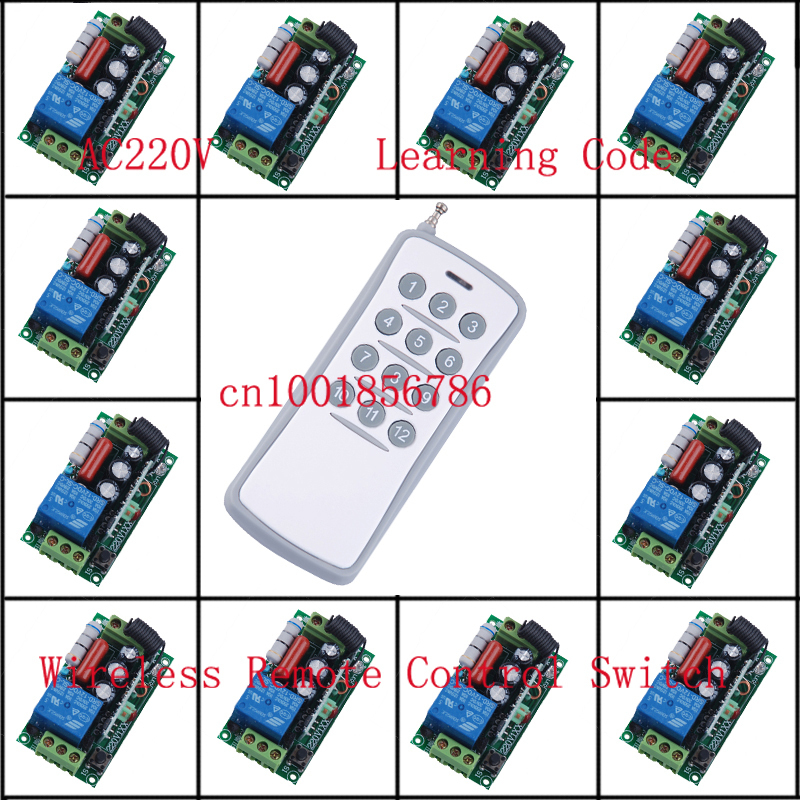 220 V 10 A 12CH Wireless Remote Control Switch Each CH is Independent Learning code Toggle/Momentary LED ON OFF Wireless Switch(China (Mainland))