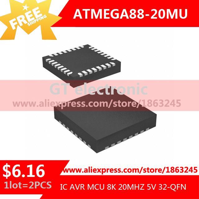 Free Shipping Electronic Kit ATMEGA88-20MU IC AVR MCU 8K 20MHZ 5V 32-QFN MEGA88 ATMEGA88 2pcs(China (Mainland))