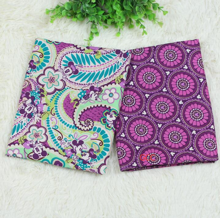 New 150CM Width VB fabric Purple Mickey Printed Cotton fabric for handmade sewing bags(China (Mainland))