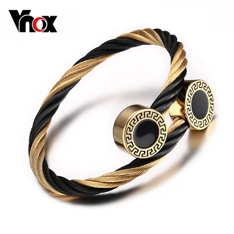 Vnox Wire Adjustable Bracelets For Women Stainless Steel Greek Key Pattern Charm Jewelry(China (Mainland))