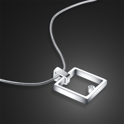 Fashion square pendant necklace, 925 silver long bead chain, different style solid silver necklace women sterling silver jewelry(China (Mainland))