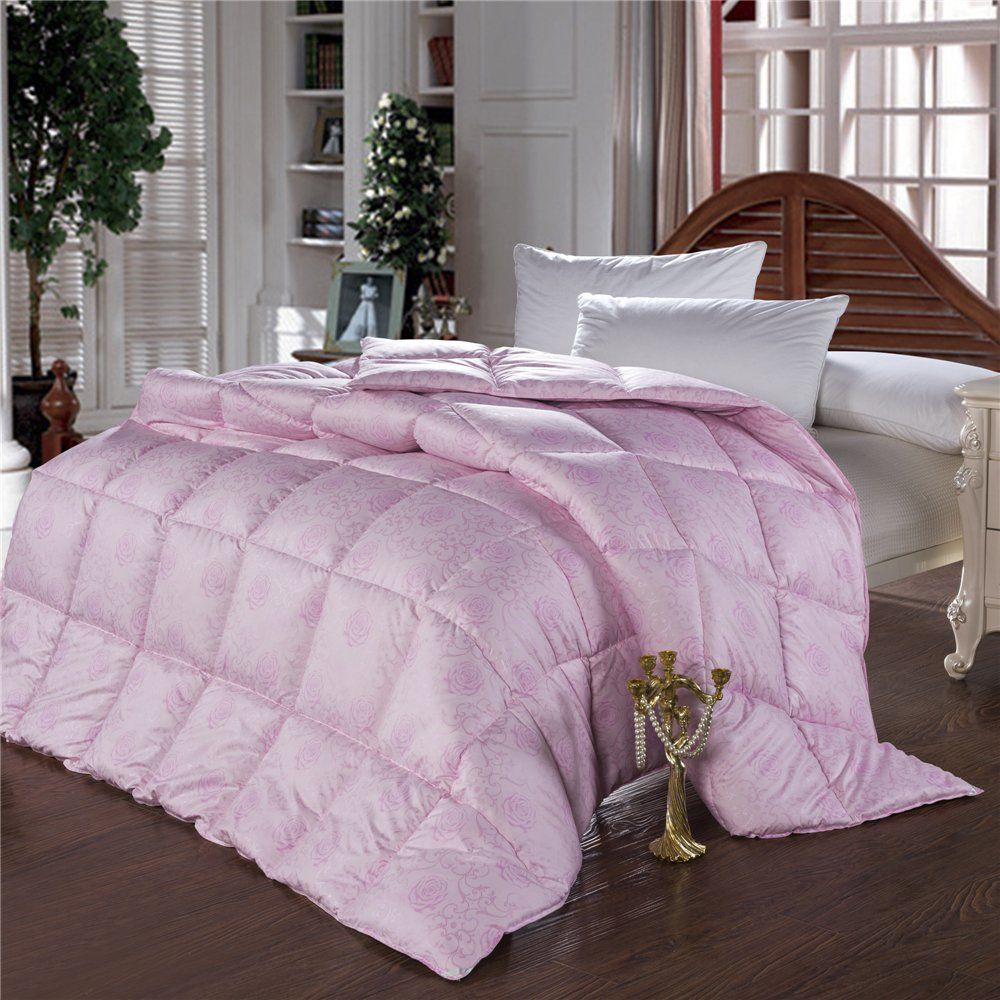 European Edredon funda 100% goose down comforter double feather quilt bedding filling pure pink white duvet warm and thick(China (Mainland))