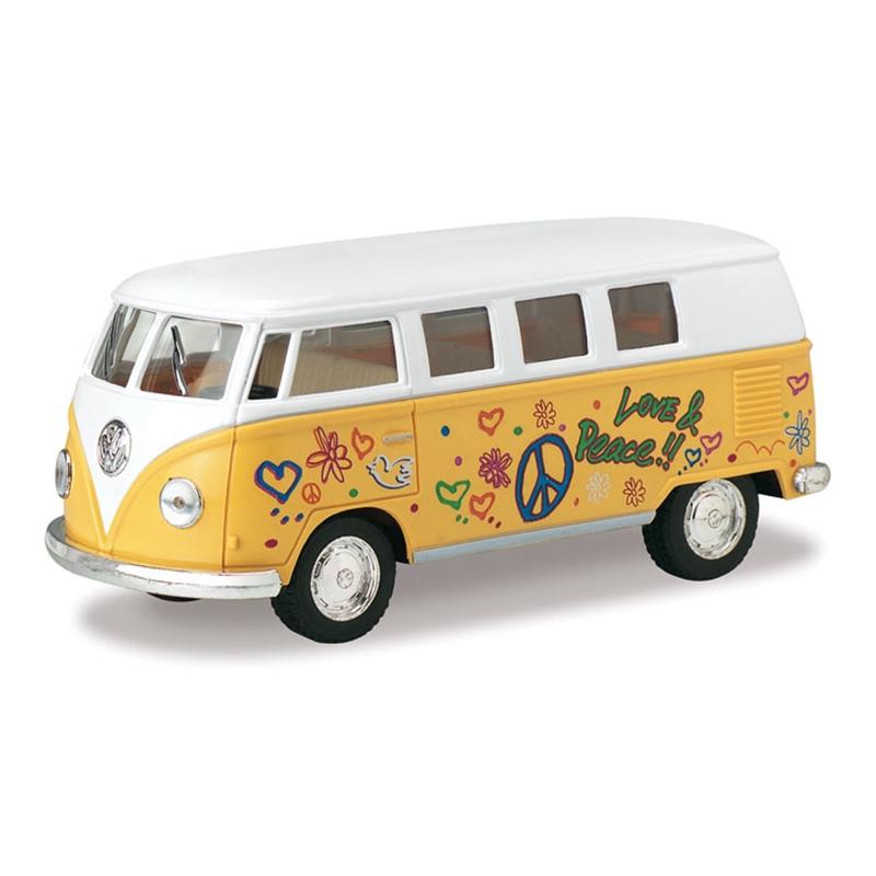 Kinsmart 1962 VW T1 Bus Love&Peace Yellow 1/32 alloy models model car back T1 VAN pull back car children's toys car Kids toy(China (Mainland))