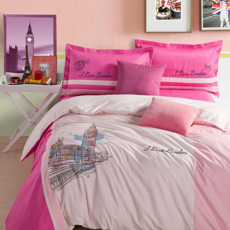 London bedding pure cotton bed set big ben clock bed linens 40s bed cover embroidery wedding 4pcs bedding set home textile B5050(China (Mainland))
