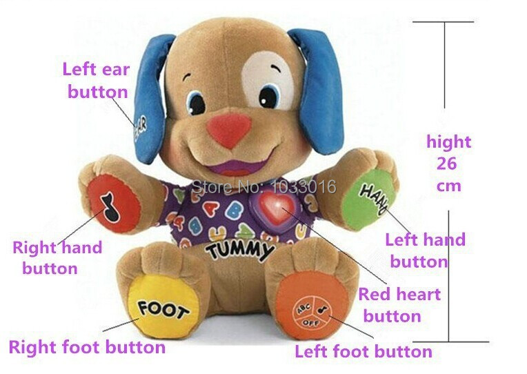 Low price! Fisher Dog Toys Baby Musical Plush Electronic Toys Dog Singing English Songs Learning&Education Love To Play Puppy(China (Mainland))