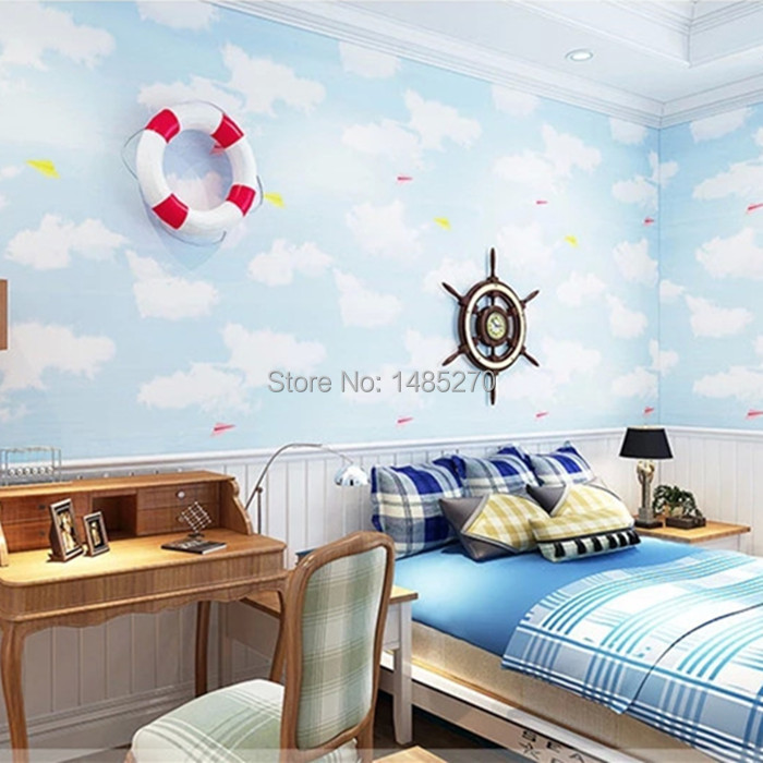 Wallpaper For Boy Bedroom Bedroom Designs Blue And White Long Narrow Bedroom Design Ideas Bedroom Colour Design: Sky Blue Boys Room