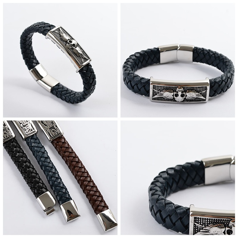 Men's Fashion Top Quality 316L Stainless Steel Skull Genuine Feather Hand Weaving Black / Brown / Navy Blue Bracelet # AIB0086(China (Mainland))