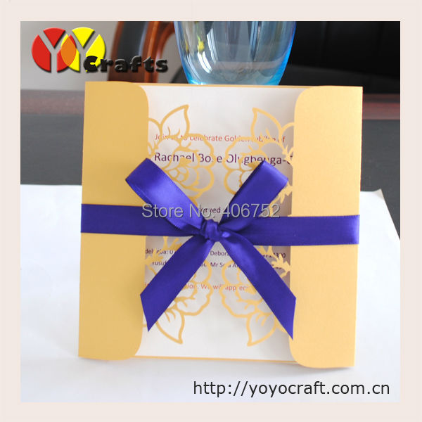 Laser cut golden pearl paper flower lace handmade birthday invitation cards(China (Mainland))