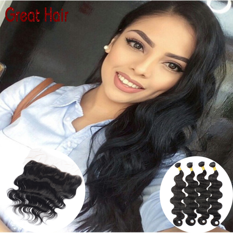 13X4 Lace Frontal Closure With Bundles 7A Peruvian body wave With Closure #1B color peruvian virgin hair with closure<br><br>Aliexpress