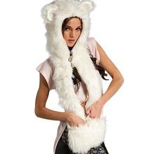 2015 Warm Winter Faux Animal Fur Hat Fluffy Scarf Shawl Glove Plush Cap Gloves Hats Xmas a2 Q1(China (Mainland))