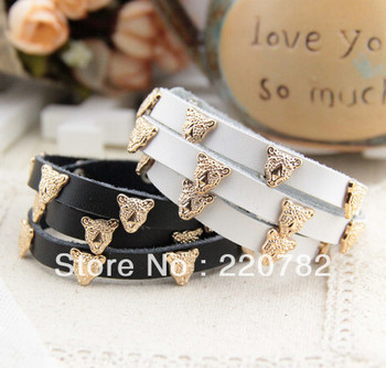 2013 fashion jewelry animal head wrap leather bracelet for women Free shipping 2pcs/lot