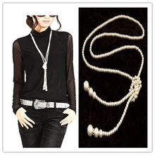 Fashion Big Pearl Necklaces Pendants Channel Rhinestones Long Statement Necklaces & Pendants Women Men Jewelry N-461