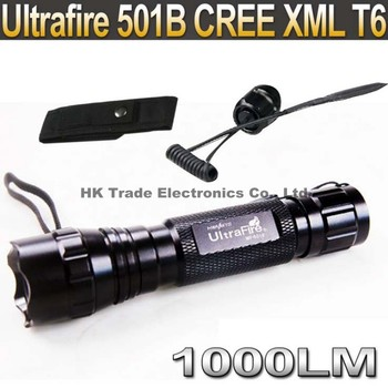 UltraFire 501B Cree XM-LT6  flashlight 1000 Lumens LED Flashlight lamp+Remote Pressure Switch Press Controller+Holster case