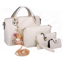 Neue 2015 vintage taschen eingerichtet solide pu-leder schulter handtaschen damen taschen satz 4 stück taschen + bär anhänger b2129(China (Mainland))