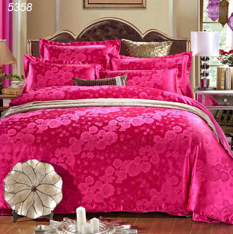 Rose red bedding set king size duvet cover set 4pcs bed covers satin bedspread cotton sheet queen bed set 5358(China (Mainland))