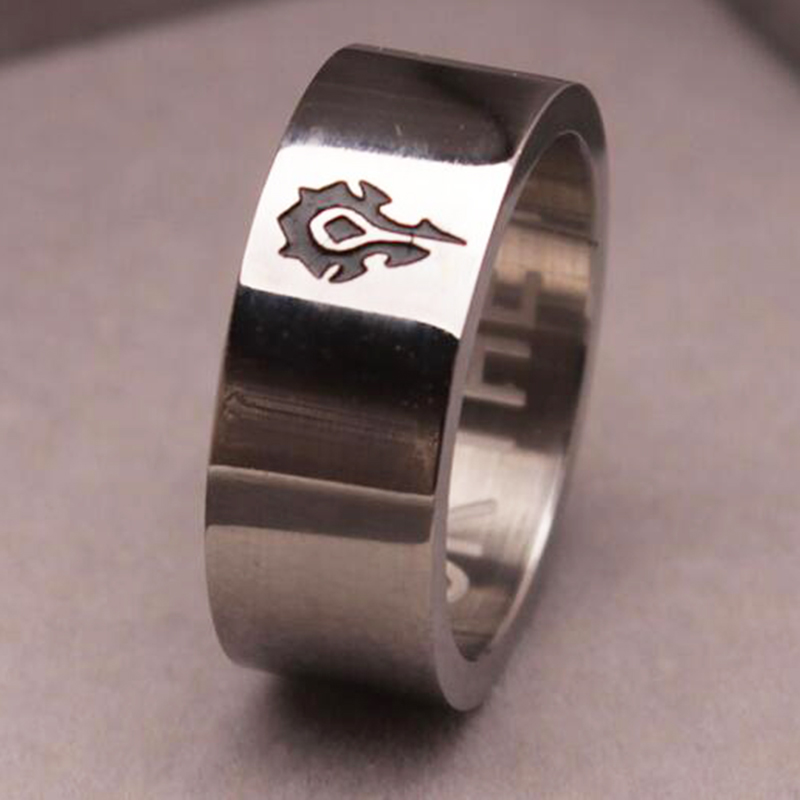 Movie World of Warcraft Ring WOW alliance logo men rings Game hand decorated titanium steel Men jewelry souvenir tribal gift(China (Mainland))